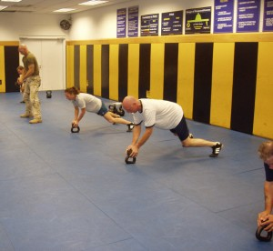 Practicing the Shooters Push-up at FLETC